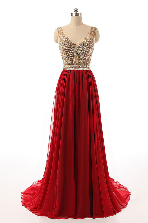 Burgundy v neck beads long prom dress, burgundy evening dress