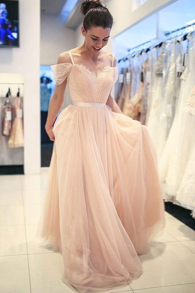 Elegant champagne tulle long prom dress, champagne tulle formal dress