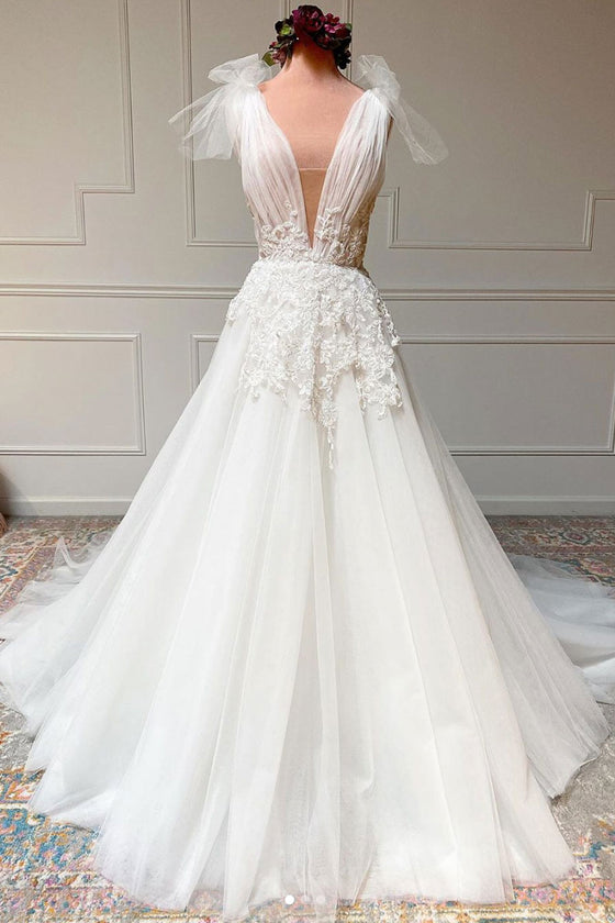 White v neck tulle lace long prom dress white tulle wedding dress