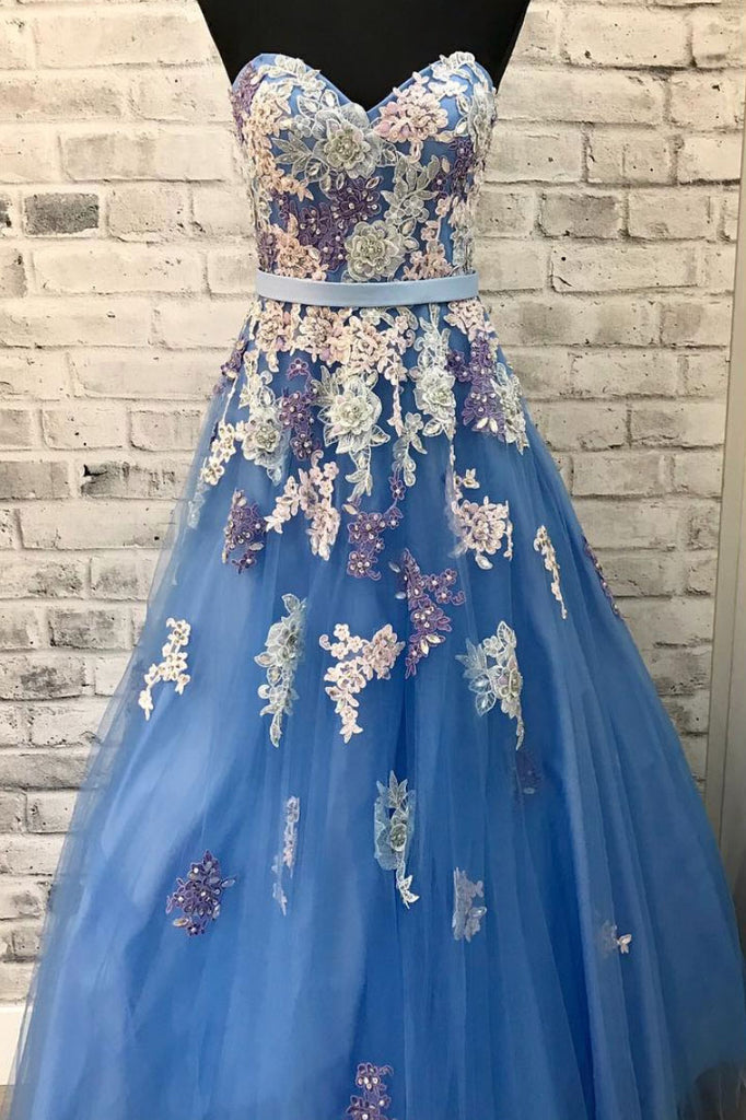 Blue sweetheart neck tulle lace long prom dress, blue evening dress