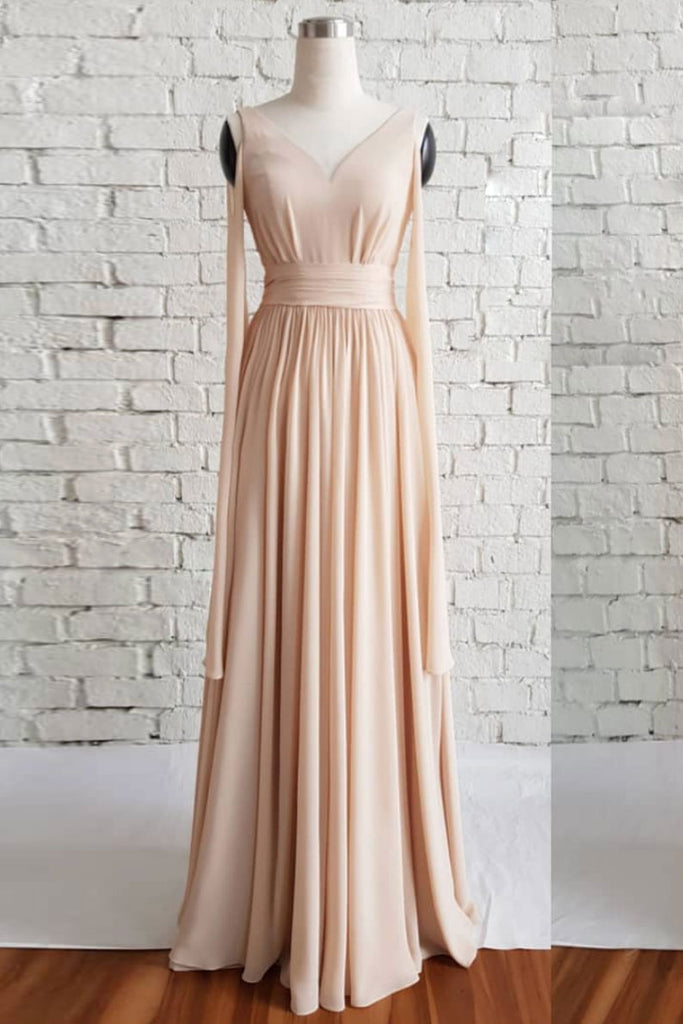 Simple v neck chiffon long prom dress, champagne evening dress