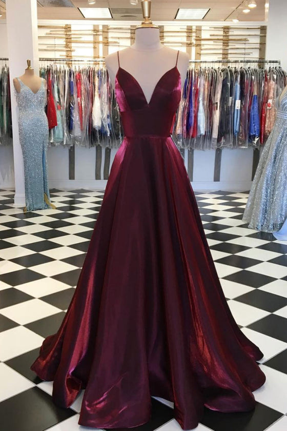 Simple v neck satin burgundy long prom dress, burgundy evening dress