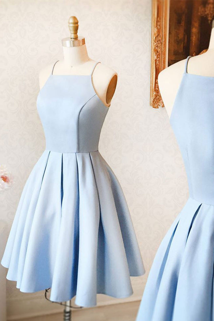 Cute blue short prom dress, blue homecoming dress