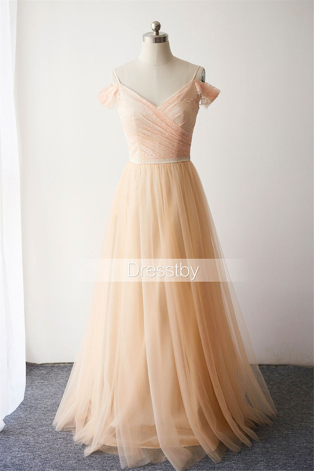d7a7aaa77cd5 Champagne tulle lace off shoulder long prom dress, bridesmaid dress ...