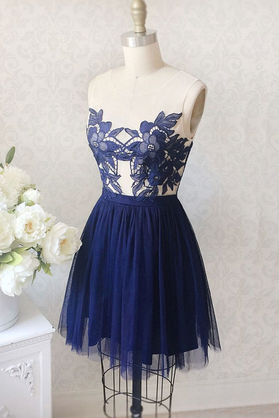 Dark blue tulle lace applique short prom dress, homecoming dress