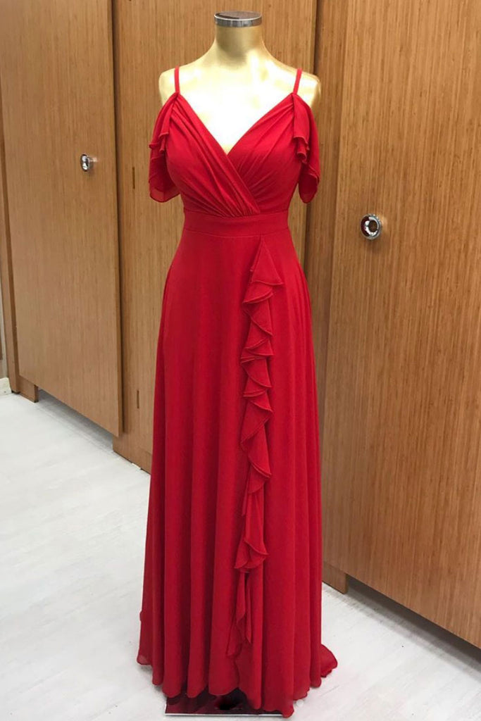 Red chiffon long prom dress, red chiffon evening dress