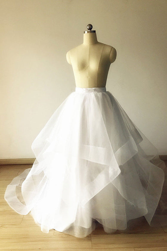 White tulle long prom gown, evening gown