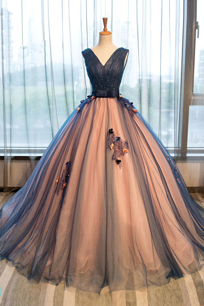 Unique v neck tulle long prom gown, dark blue evening dress