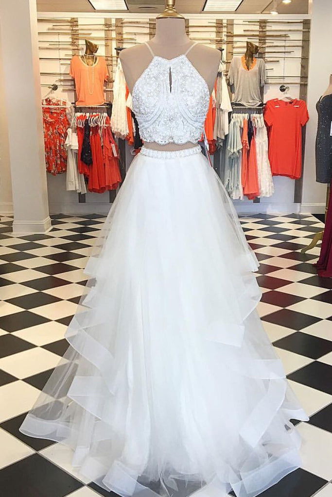 White two pieces beads tulle long prom dress white evening dress