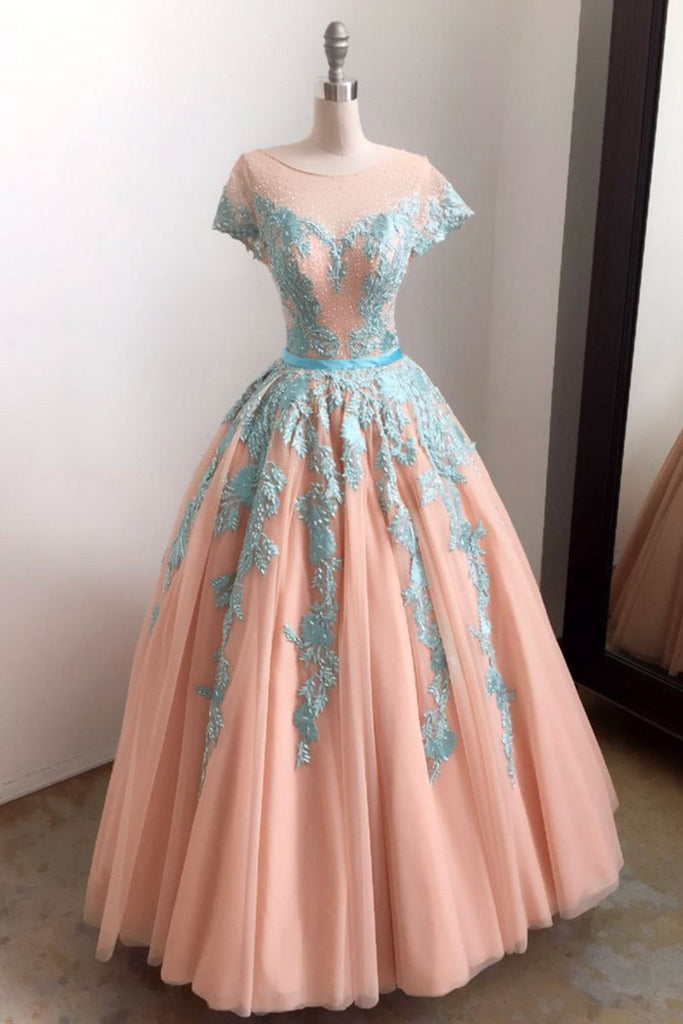 Elegant blue lace tulle long prom dress, tulle lace evening dress