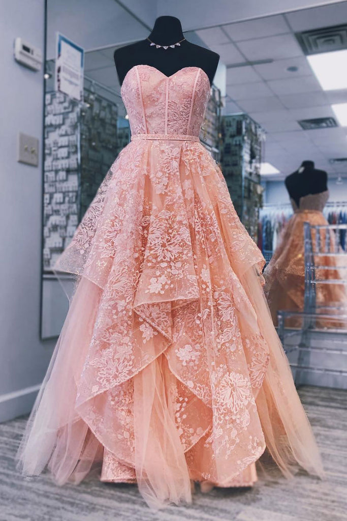 Pink sweetheart neck tulle lace long prom dress, pink evening dress