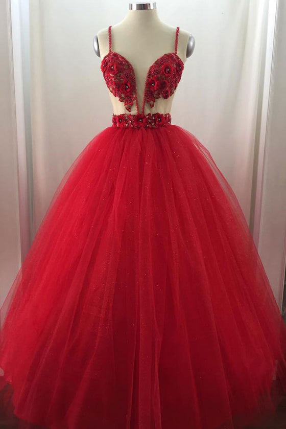 Unique sweetheart tulle long prom dress, tulle evening dress
