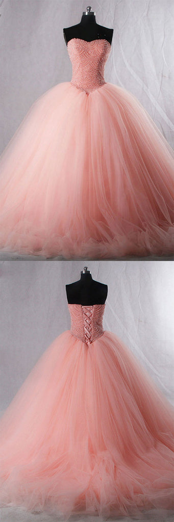Pink sweetheart neck tulle beads long prom dress, pink evening dress