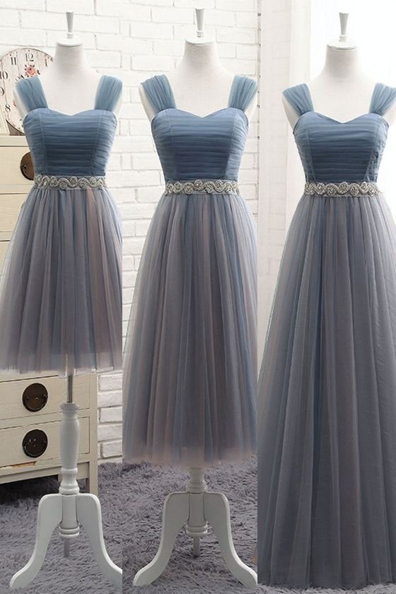 simple v neck tulle gray blue prom dress, tulle bridesmaid dress