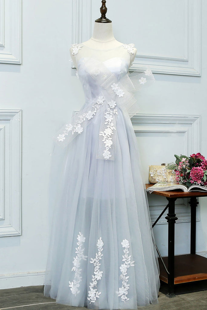 Unique gray tulle lace applique long prom dress, evening dress