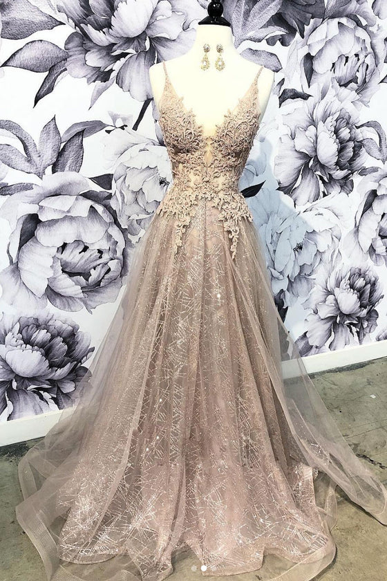 Champagne v neck tulle lace long prom dress, champagne tulle evening dress
