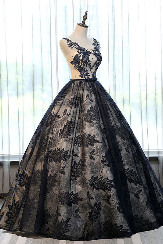 Unique black lace long prom gown, black evening dress