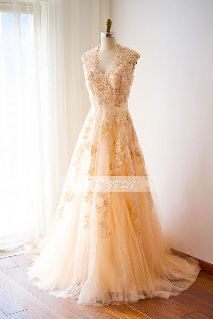 Champagne v neck lace long prom dress, lace wedding dress