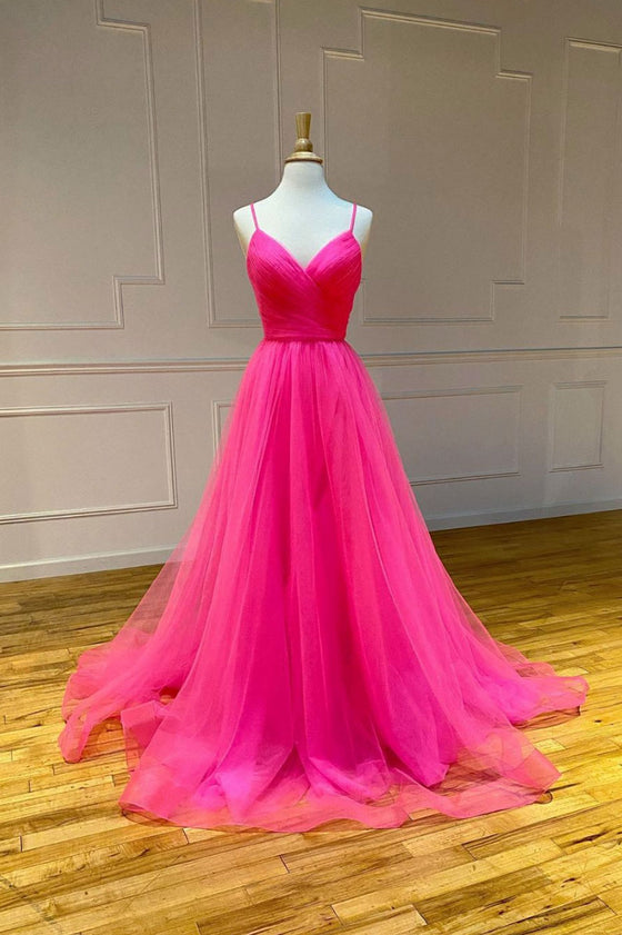 Pink sweetheart tulle long prom dress pink long evening dress