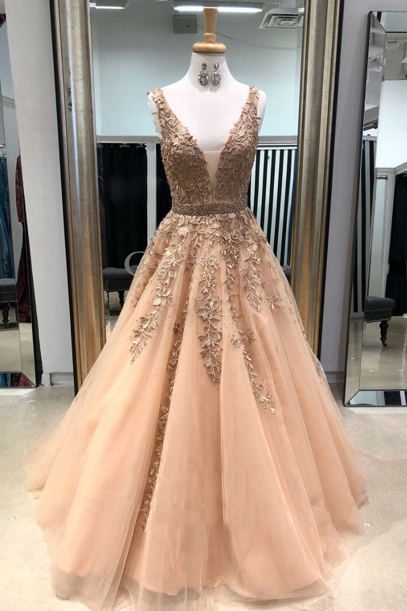 Champagne v neck tulle lace applique long prom dress, champagne evening dress