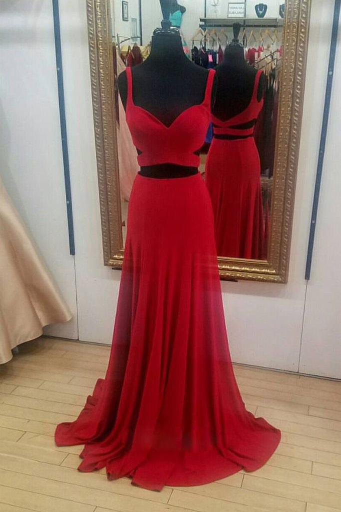 Red chiffon two pieces long prom dress, red evening dress