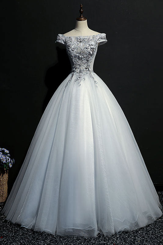 Gray tulle lace off shoulder long prom dress gray evening dress