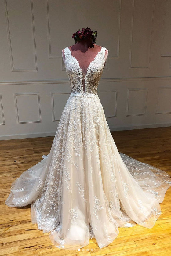 Champagne v neck tulle lace long prom dress lace evening dress