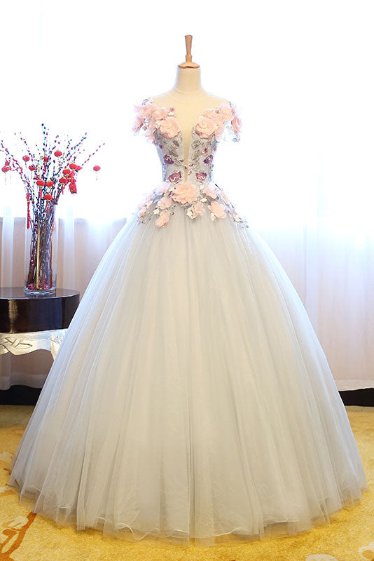 Gray lace applique tulle long prom gown, sweet 16 dress