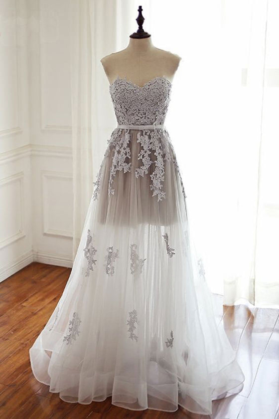 White sweetheart lace tulle long prom dress, wedding dress