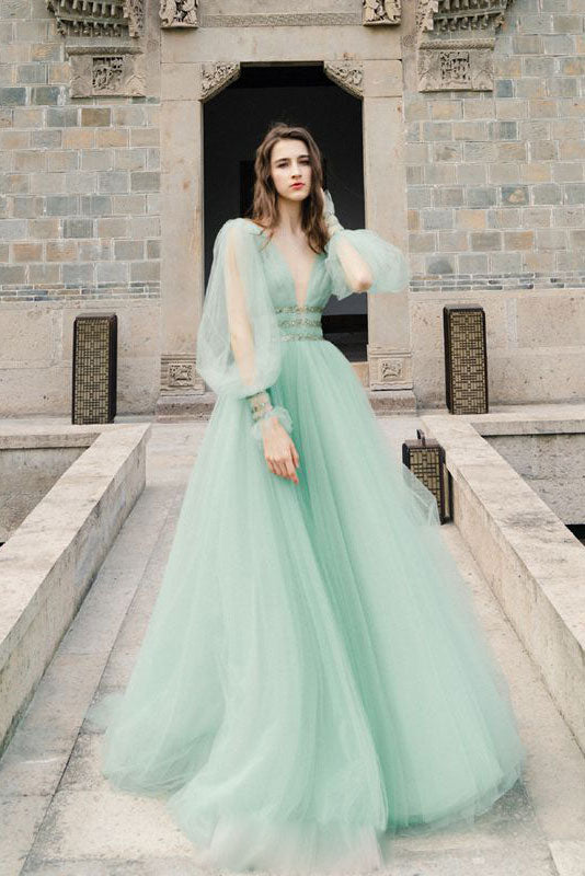 Green v neck tulle long prom dress green evening dress