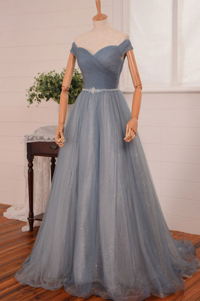 Simple gray tulle long tulle prom dress, gray evening dress