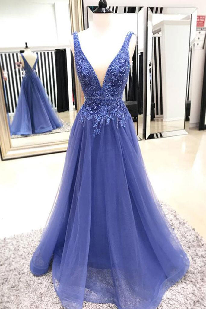 9a4e036dca Blue v neck tulle lace long prom dress