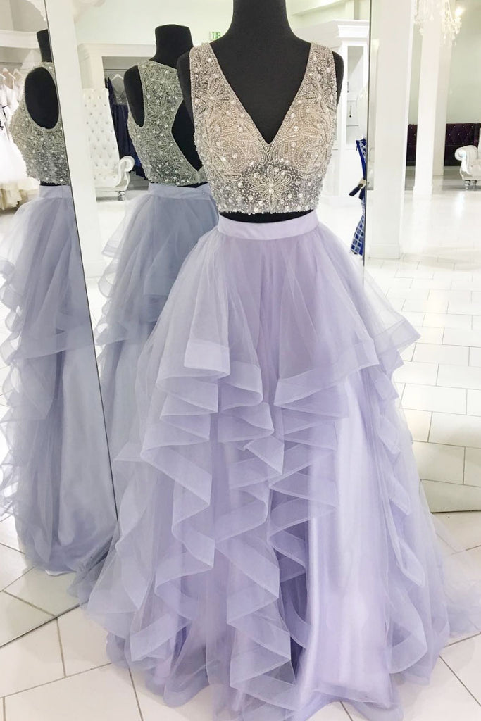Purple two pieces beads long prom dress, purple evening dress