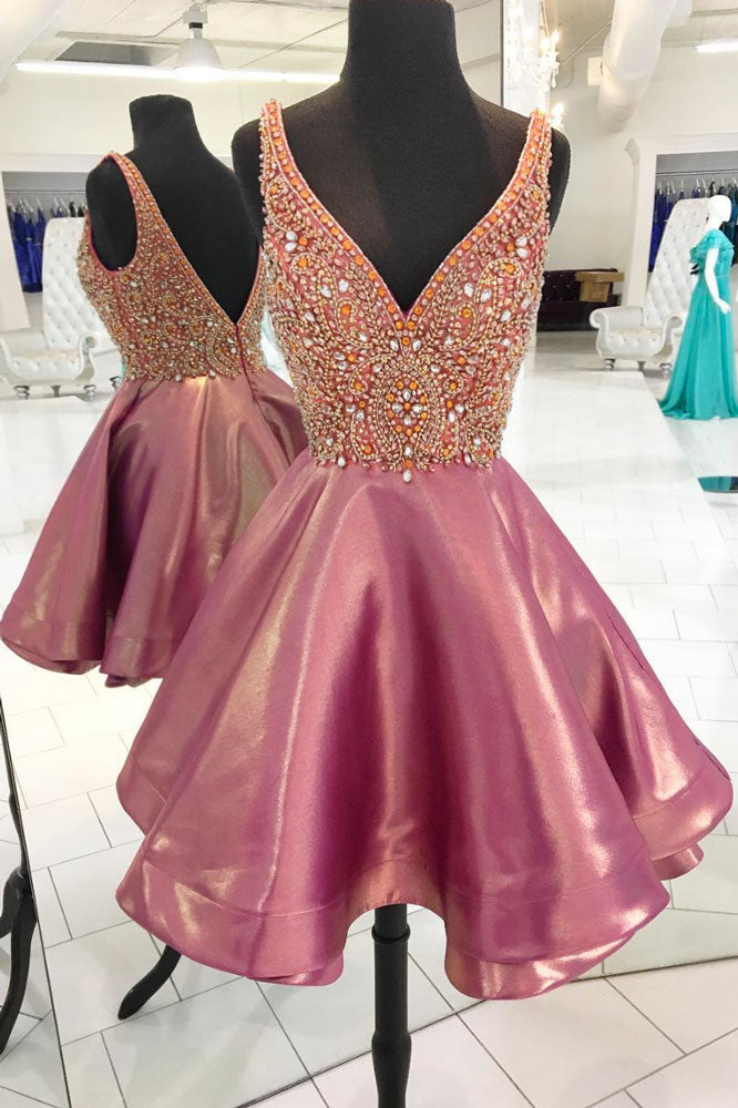 Pink v neck beads short prom dress, pink homecoming dress