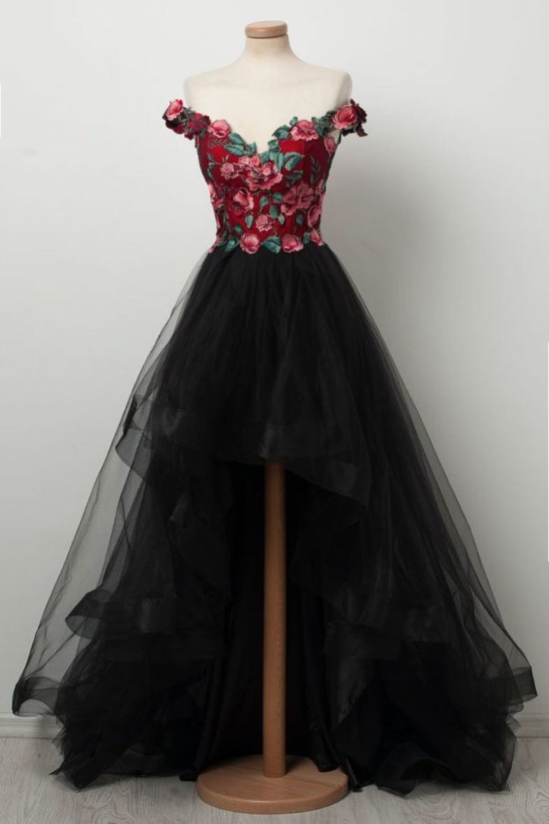 32e7a2dc247 Black sweetheart high low tulle prom dress
