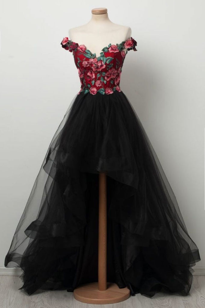 Black sweetheart high low tulle prom dress, black tulle evening dress