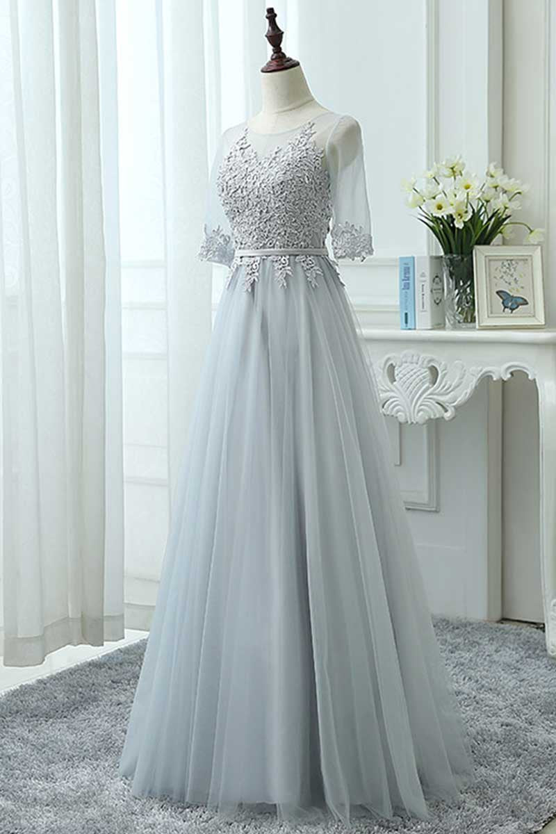 Gray tulle lace long prom dress, tulle lace bridesmaid dress - dresstby