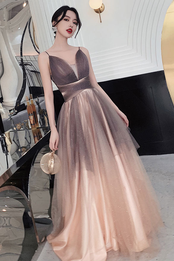 Champagne sweetheart tulle sequin long prom dress formal dress