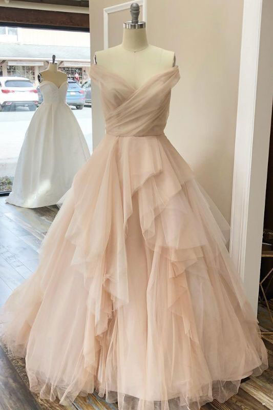 Champagne tulle off shoulder long prom dress tulle evening dress
