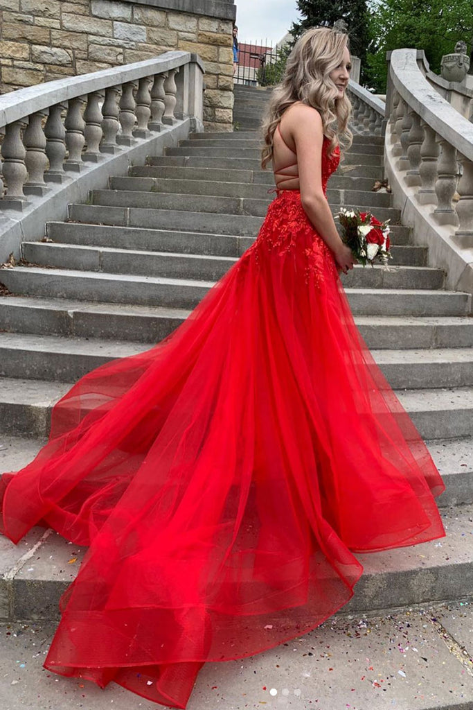 Red v neck tulle lace long prom dress red lace long evening dress