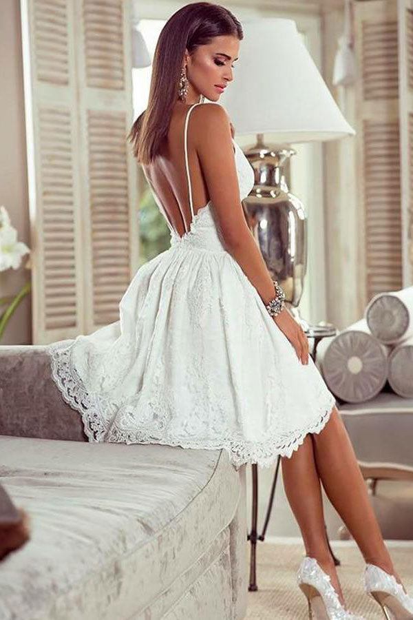 White v neck tulle lace short prom dress lace homecoming dress
