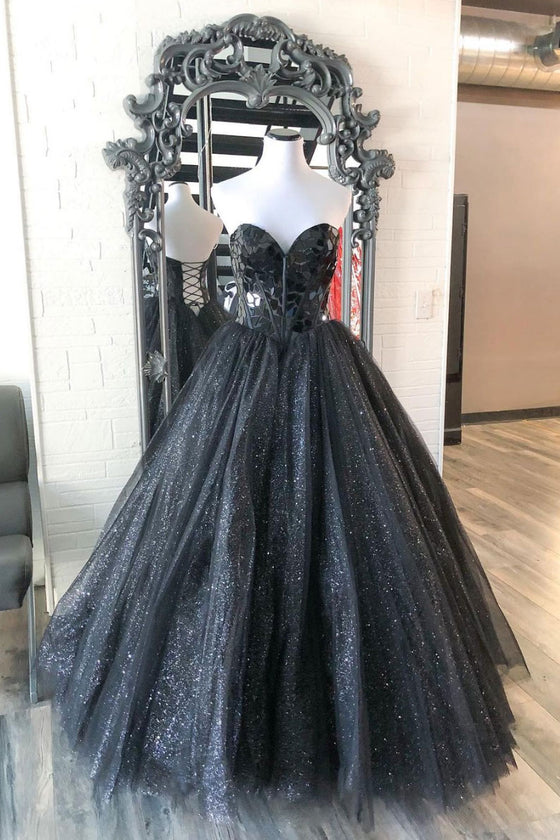 Black sweetheart tulle sequin long prom dress black tulle formal dress