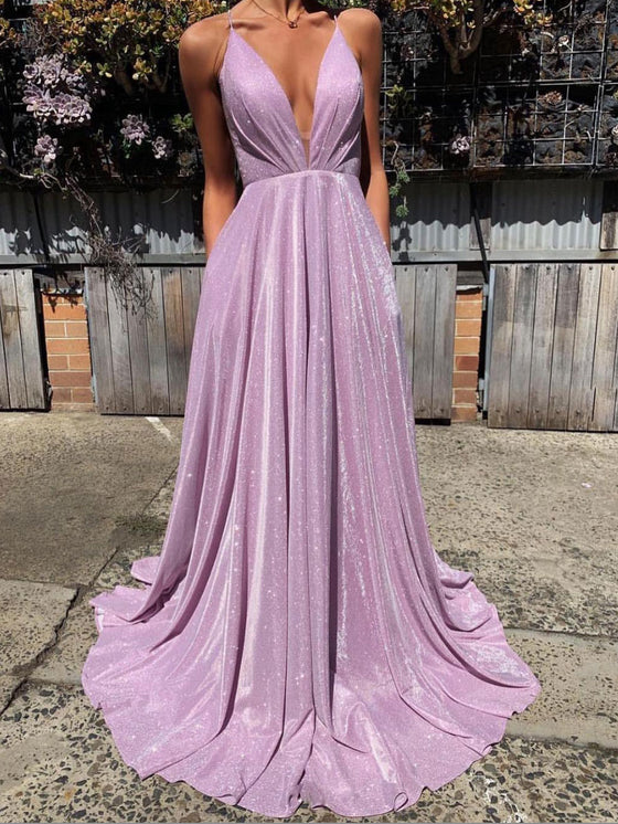 Simple v neck satin long prom dress purple long evening dress
