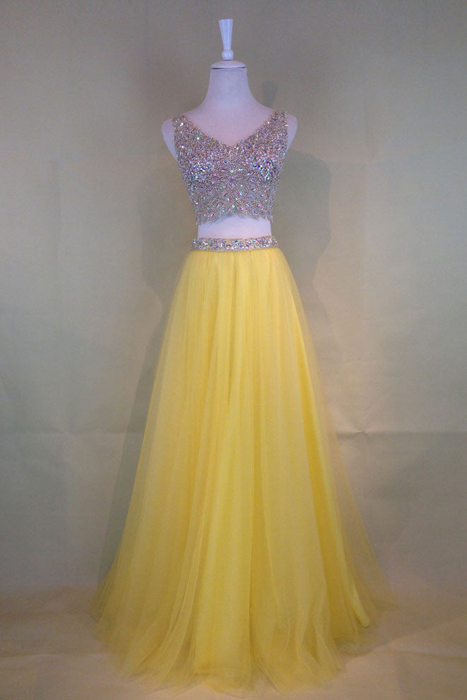 Yellow tulle beads two pieces long prom dress, yellow evening dress