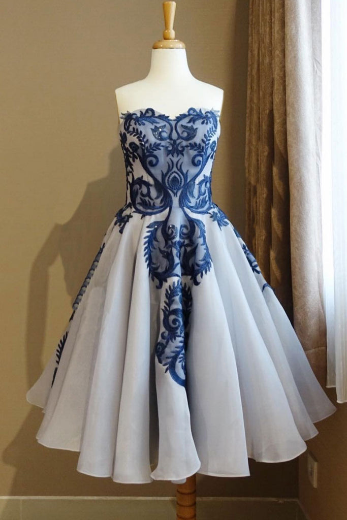 Blue lace tulle short prom dress, blue lace homecoming dress