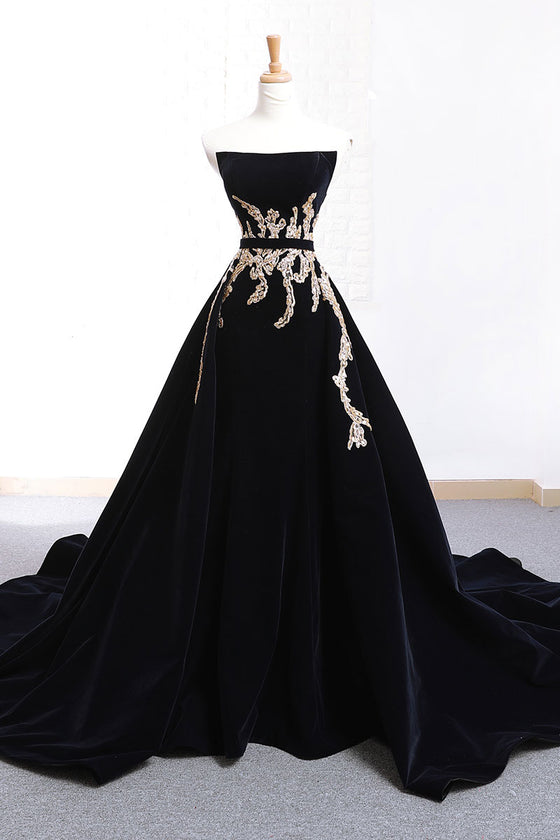 Black lace applique long prom dress, black evening dress