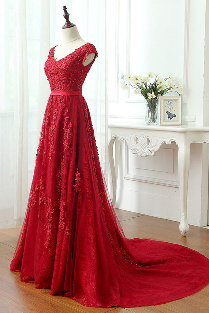 Red lace tulle long prom dress, red lace evening dress