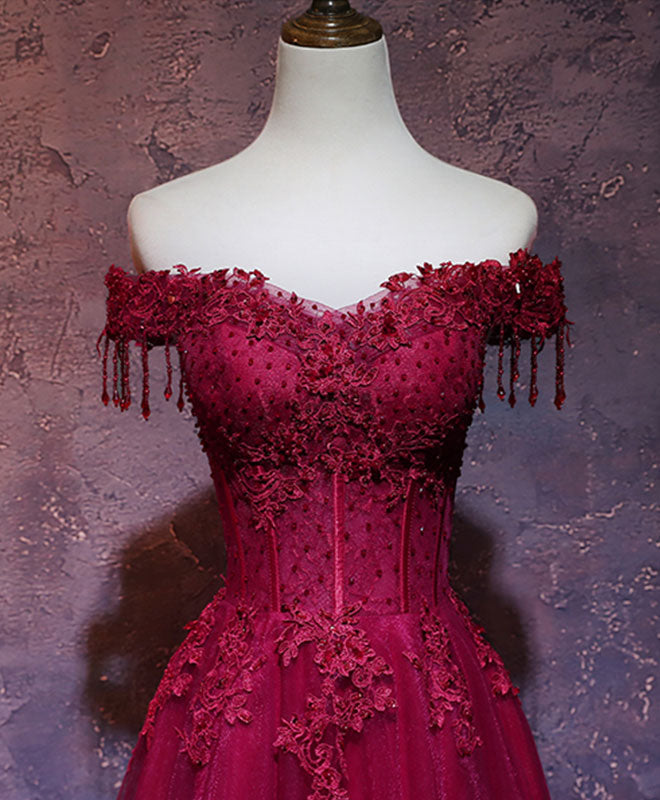 Burgundy off shoulder lace long prom dress burgundy evening dress