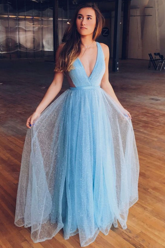 Blue v neck tulle long prom dress, blue tulle evening dress