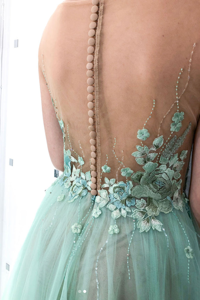 Green round neck tulle lace applique long prom dress, green evening dress